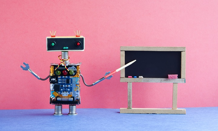 Robot teacher explains modern theory. Classroom interior with empty black chalkboard. Pink blue colorful background